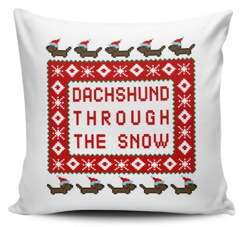 Dachshund Through The Snow Funny Christmas Pixel Novelty Christmas Cushion Cover